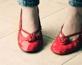 Ballet Flats - Red Alert - Handmade Leather shoes - CUSTOM FIT - TheDrifterLeather