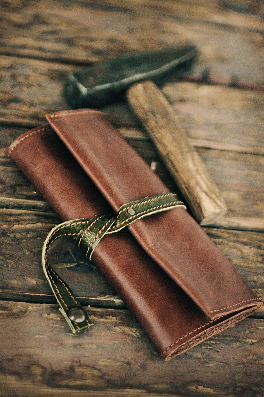 olive leather tobacco pouch. Black Bedroom Furniture Sets. Home Design Ideas
