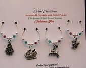 Christmas Fun - Solid Pewter Christmas wine charms with Swarovski crystals