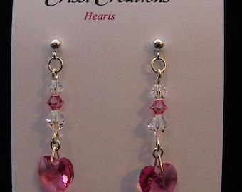 Hearts - Swarovski Rose crystal heart earrings in Sterling Silver