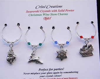 Noel - Christmas Wine Charms Swarovski crystals and pewter charms