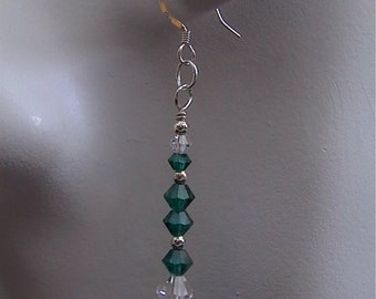 Envy  - Swarovski  Emerald and Clear crystal earrings in sterling silver