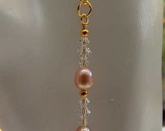 Cotillion - Pearl earrings with Clear Swarovski crystals accent shimmering pink freshwater pearls