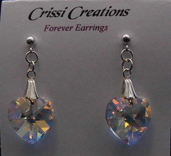 Forever - Swarovski Crystal heart earrings