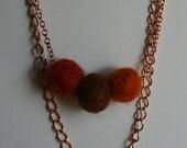 leaf peeper felted wool necklace