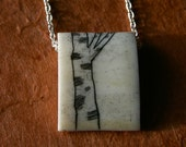 birch tree scrimshaw pendant