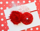 Fancy Christmas Headband Shabby Red and White Polka Dots on Skinny Red Headband With Feathers  (Newborn, Toddler, Child)