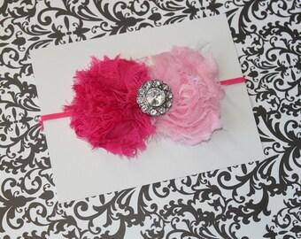 Shabby  Light and Dark Pink Chiffon Rosettes with Large Fancy Rhinestone on a Skinny Pink Headband  (Newborn, Toddler, Child)