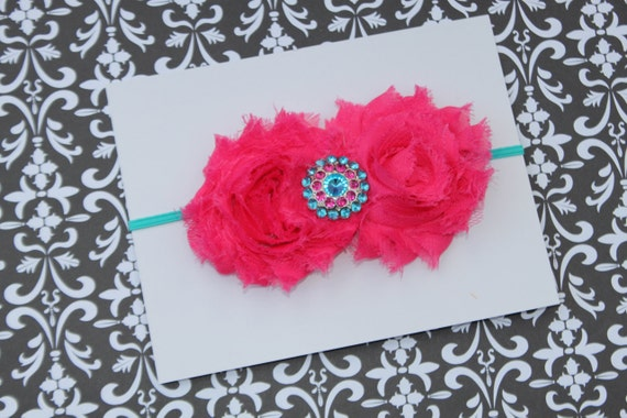 Double Shabby Hot Pink and Turquoise  Chiffon Rosettes with Fancy Rhinestone  on a Skinny Turquoise Headband (Newborn, Toddler, Child)
