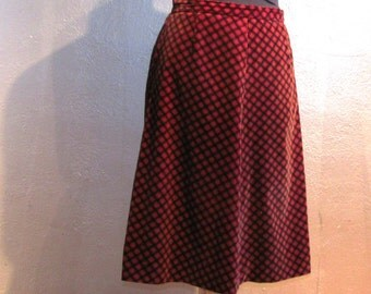 SALE: Red Plaid Velvet Skirt / Winter Romance
