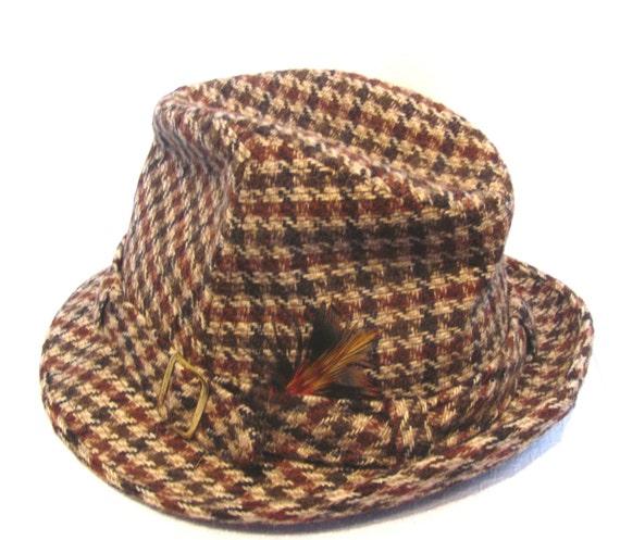 Vintage Houndstooth Tweed Fedora / 1950s Cavanagh Wool Hat