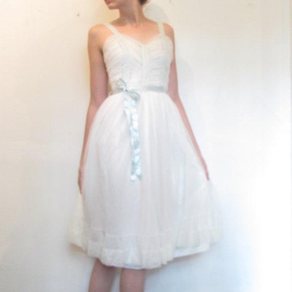 Vintage 1950s Softest White Slip Dress / Wedding Night Lingerie