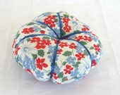 Vintage 1930's Feed Sack Fabric 5 Inch Pincushion, Floral in Red, Blue, White