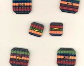 Set of 6 Vintage 1940's Plastic Art Deco Design Multi Color Buttons, 2 Hole
