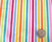 One Plus Yards Vintage Old  Stock Home Decor Cotton Fabric, Bright Multi Color Ticking Type Stripes