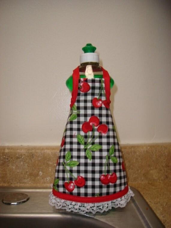 Dish Soap Bottle Apron- Cherry