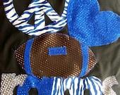 Peace Love Football and Mascot Bling T-Shirt Roayal Blue