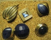 Blue and Gold Upcycled Vintage Jewelry Thumb Tacks Push Pins Cork Board Office Organizer