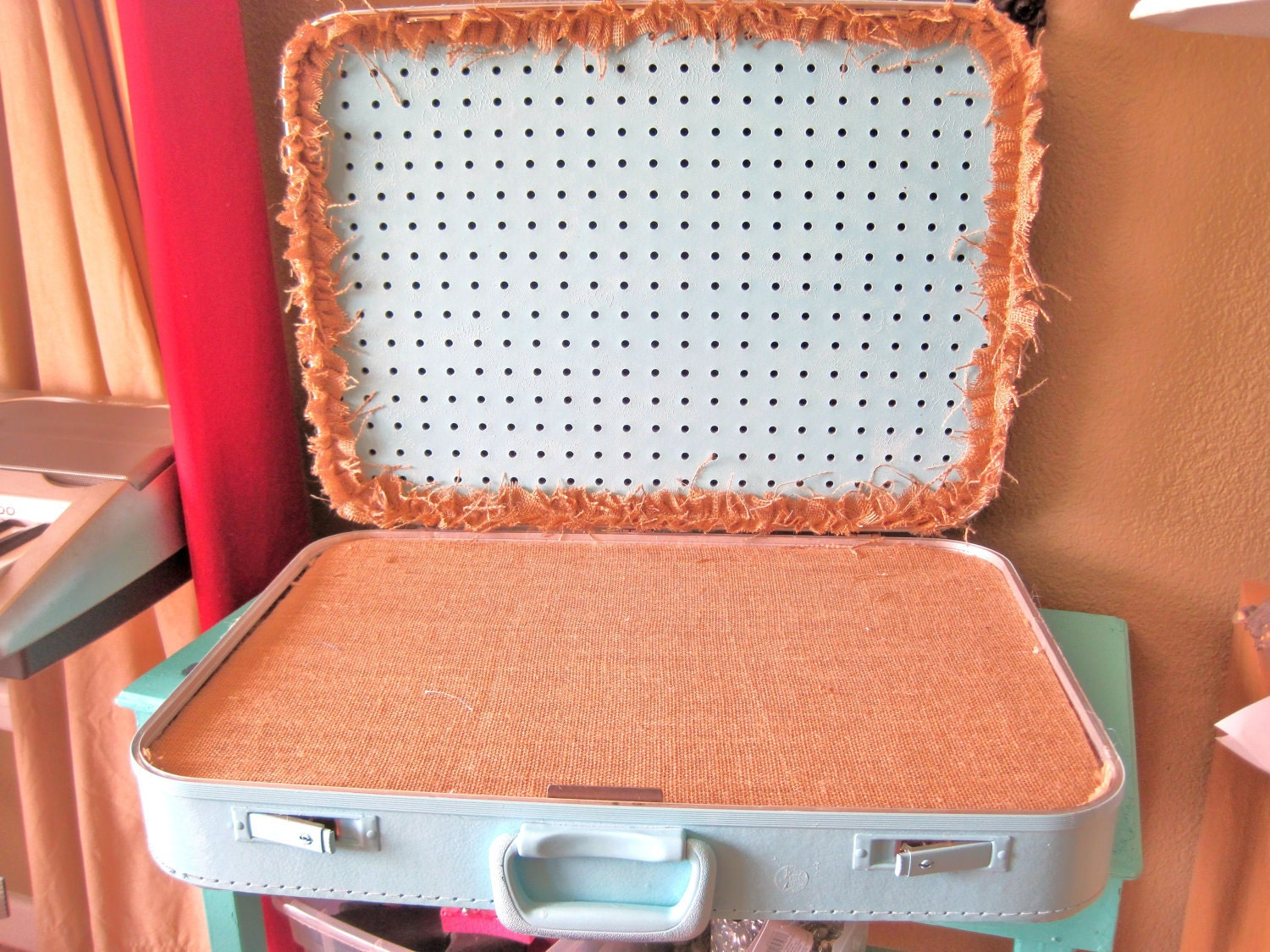 upcycled vintage luggage jewelry display and storage by. Black Bedroom Furniture Sets. Home Design Ideas
