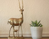 Vintage Brass Deer with Fawn, Very Large