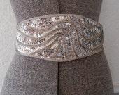 Silver Sequin Belt, 80s Glam Cummerbund Belt, S M