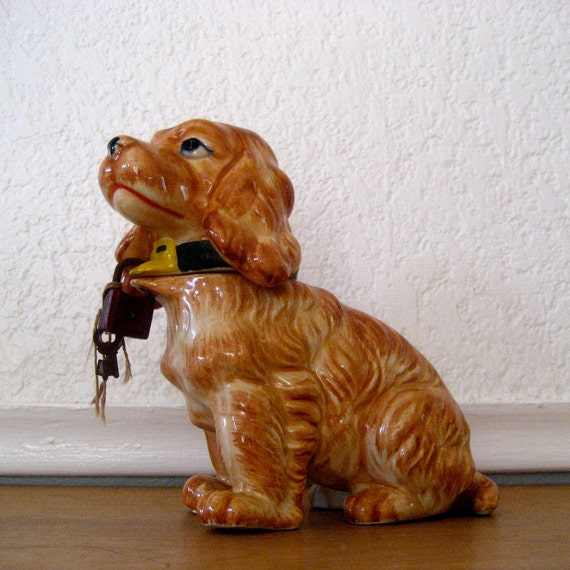 Dog Bank, Removable Head, W. Lock and Keys