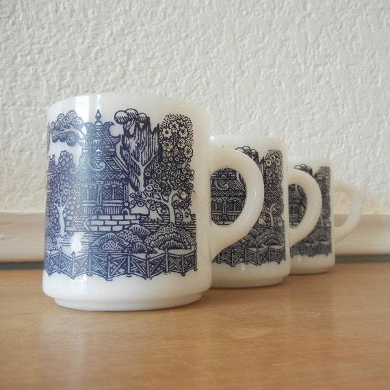 Milk Glass Mugs, Blue & White Oriental Scenery