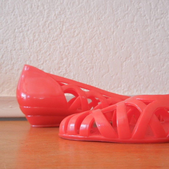 1980s Red Jelly Flats, Size 7.5 , NOS - Never Worn