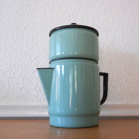 Vintage French Enamel Coffee Pot, Turquoise Blue, Complete 4 Piece Set Biggin or Teapot