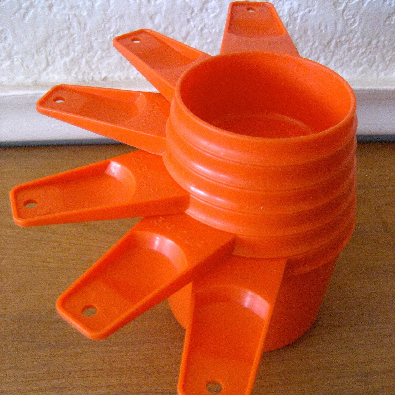 Vintage Tupperware Orange Measuring Cups Set By
