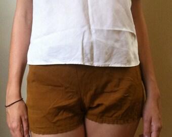 1950s Unisex Tan Cotton Swim Trunk Shorts