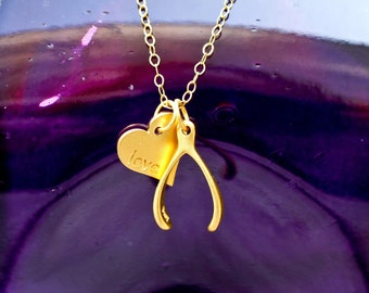 SALE-A Wish for Love- Heart and Wishbone Charm Necklace