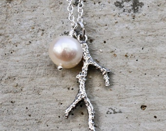 Silver Coral and Pearl Charity Necklace