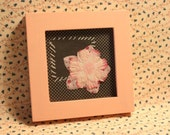 FLOWER Altered Art Framed Collage Mixed Media Repurposed Small Picture Frame Upcycled