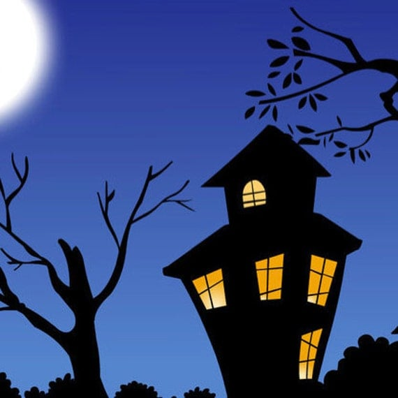 banner, etsy banner, seasonal banner - haunted town, full moon, bats, haunted house, halloween ---RESERVED FOR hauntedhollowprims