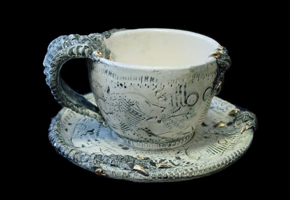 Hybrid Dystopia Cup and Saucer Set with 22k Gold