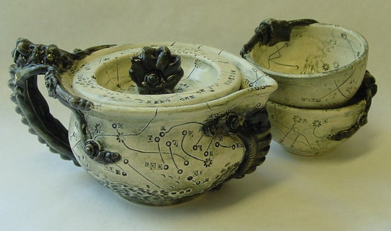 Chart and Bolts Lidded Pitcher and Teacups Set