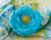 Aqua and Lime chiffon flower