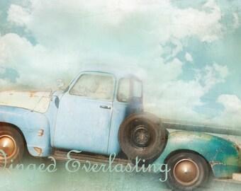 Baby Blue Pick Up truck digital art for print