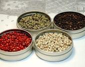 Whole peppercorn sampler - Pink, Green, White & Tellicherry Black pepper - recipes included