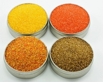 Cocktail rimming sugar - 4 rim sugars in fall colors - orange, yellow, gold, autumn blend - colored sugar for party drinks