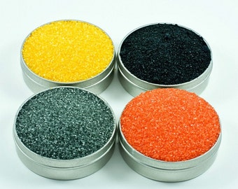 Colored cocktail rim sugar - Halloween colored sugar set for sweet martinis in black, yellow, silver, orange - Halloween party decorations