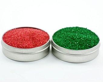 Red and green cocktail rimming sugar – Christmas colored rimmer - Bartender Mix Kit, Red Sugar, Green Sugar, Holiday Party Hostess Gift
