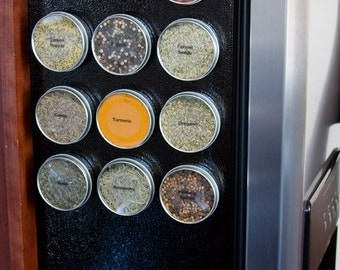 Magnetic spice tins | DIY spice rack for home organization | 16 food safe metal tins | Includes labels | Food storage | Magnetic spice jars