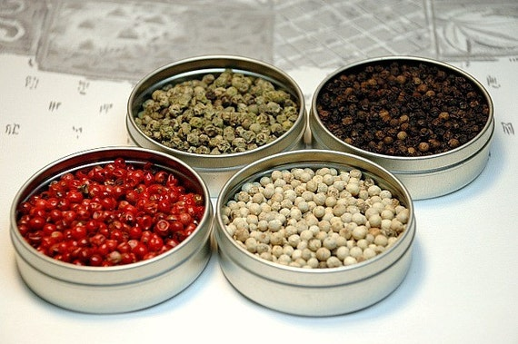 Whole peppercorn sampler - Pink, Green, White & Tellicherry Black pepper - recipes included