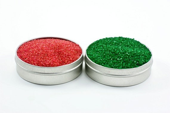Red and green cocktail rimming sugar – Christmas colored rimmer - Bartender Mix Kit, Red Sugar, Green Sugar, Holiday Party Hostess Gift