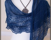 Denim Blue Merino Lace Shawl  Wrap  Shawlette