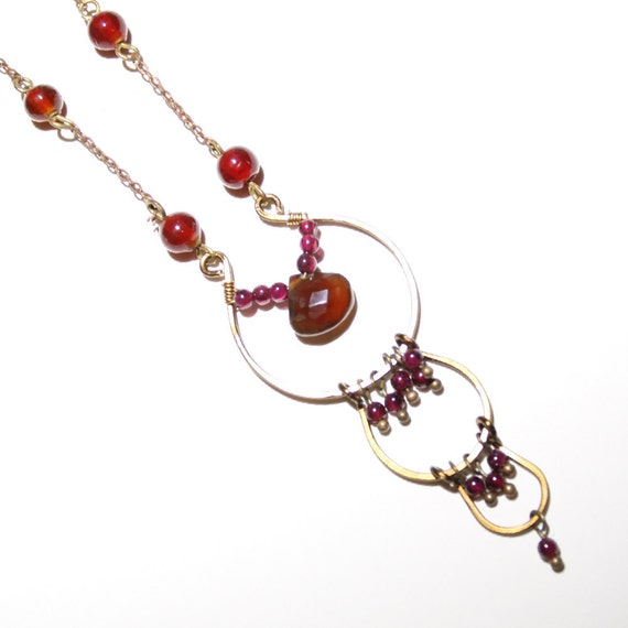 Red and Gold Necklace, Stone and Vintage Chain