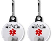 Allergic to Penicillin Medical Alert Symbol 2-Pack of Zipper Pull Charms (Choose Size and Color of Backing)
