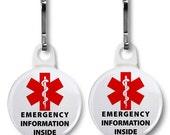 Emergency Medical Information Inside Warning Info Medical Alert Symbol Warning Zipper Pull Charms